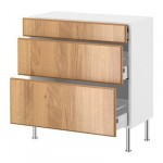 ФАКТУМ Напольный шкаф с 3 ящиками - Норье дуб, 80x37 см