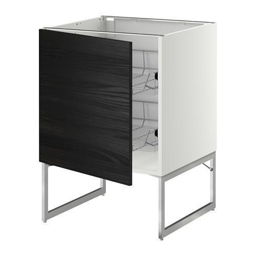 МЕТОД Напольный шкаф с проволочн ящиками - 60x60x60 см, Тингсрид под дерево черный, белый