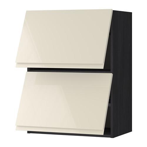m thode armoires murales portes 2 horizontales bois sous noir vokstorp brillant beige. Black Bedroom Furniture Sets. Home Design Ideas