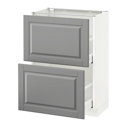 МЕТОД / МАКСИМЕРА Напольный шкаф с 2 ящиками - 60x37 см, Будбин серый, белый