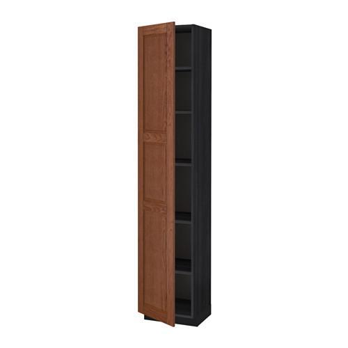 МЕТОД Высок шкаф с полками - 40x37x200 см, Филипстад коричневый, под дерево черный
