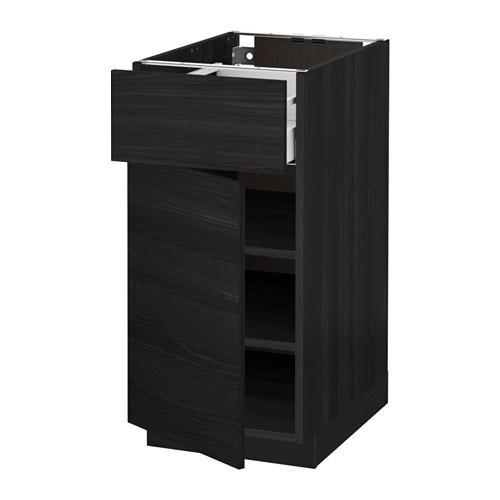 МЕТОД / МАКСИМЕРА Напольный шкаф с ящиком/дверью - 40x60 см, Тингсрид под дерево черный, под дерево черный