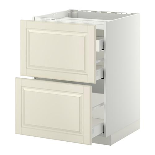 МЕТОД / МАКСИМЕРА Напольн шкаф/2 фронт пнл/3 ящика - 60x60 см, Будбин белый с оттенком, белый