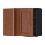 МЕТОД Угловой навесной шкаф с полками - под дерево черный, Филипстад коричневый, 88x37x60 см