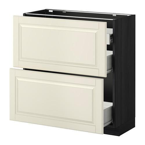 VERFAHREN / FORVARA Nap Schrank 2 FRNT PNL / 1nizk / 2sr Schubladen - Holz schwarz, weiß mit einem Hauch von Budbin, 80x37 cm
