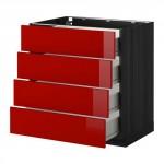 МЕТОД / ФОРВАРА Напольн шкаф 4 фронт панели/4 ящика - 80x60 см, Рингульт глянцевый красный, под дерево черный