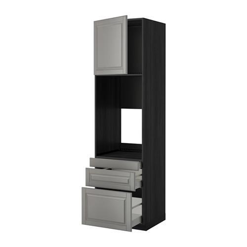 МЕТОД / МАКСИМЕРА Выс шкаф д/двойн духовки/3ящ/дверца - 60x60x220 см, Будбин серый, под дерево черный