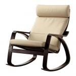POÄNG кресло-качалка черно-коричневый/Глосе светло-бежевый