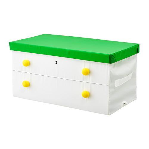 FLYTTBAR коробка с крышкой зеленый/белый