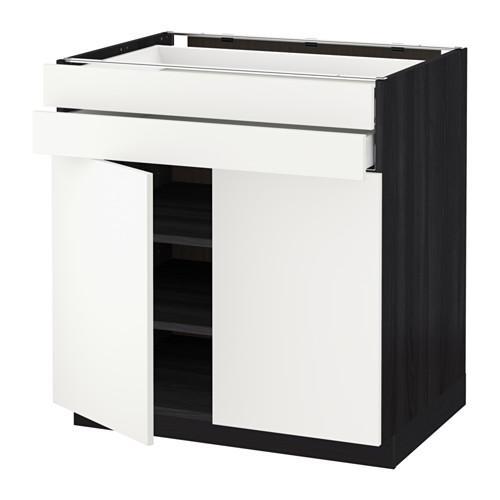 МЕТОД / МАКСИМЕРА Напольный шкаф/2дверцы/2ящика - 80x60 см, Хэггеби белый, под дерево черный