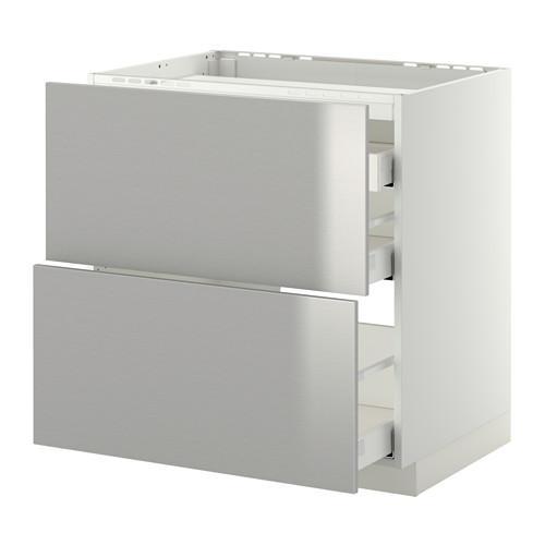 МЕТОД / МАКСИМЕРА Напольн шкаф/2 фронт пнл/3 ящика - 80x60 см, Гревста нержавеющ сталь, белый