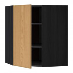 МЕТОД Угловой навесной шкаф с полками - 68x80 см, Экестад дуб, под дерево черный