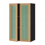 МЕТОД Навесной шкаф с полками/2 стекл дв - 60x100 см, Экестад дуб, под дерево черный