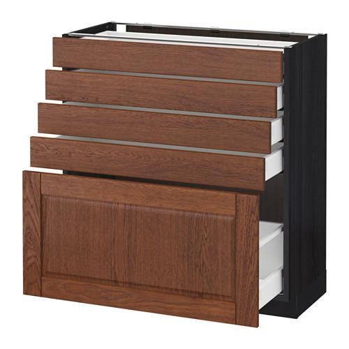 МЕТОД / МАКСИМЕРА Напольный шкаф с 5 ящиками - под дерево черный, Филипстад коричневый, 80x37 см