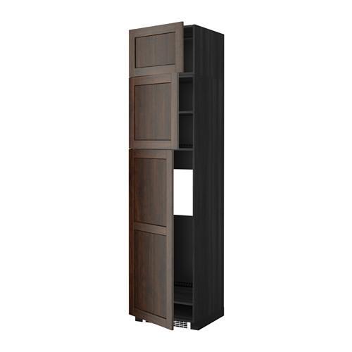 МЕТОД Высокий шкаф д/холодильника/3дверцы - Эдсерум под дерево коричневый, под дерево черный