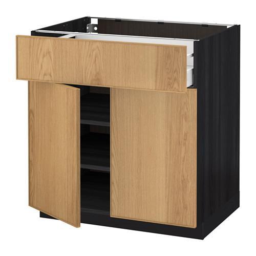 МЕТОД / МАКСИМЕРА Напольный шкаф+ящик/2дверцы - 80x60 см, Экестад дуб, под дерево черный