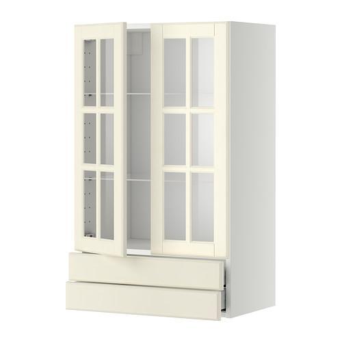 МЕТОД / МАКСИМЕРА Навесной шкаф/2 стек дв/2 ящика - 60x100 см, Будбин белый с оттенком, белый