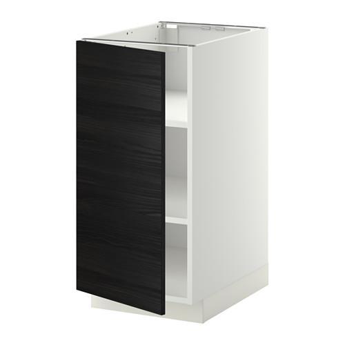 МЕТОД Напольный шкаф с полками - белый, Тингсрид под дерево черный, 40x60 см