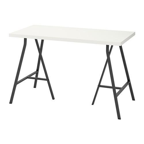 LERBERG / LINNMON bord hvit / grå 60x74 cm