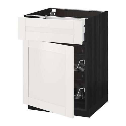 МЕТОД / МАКСИМЕРА Напольн шкаф с пров корз/ящ/дверью - 60x60 см, Сэведаль белый, под дерево черный