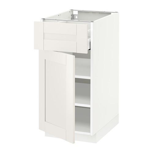 МЕТОД / МАКСИМЕРА Напольный шкаф с ящиком/дверью - белый, Сэведаль белый, 40x60 см