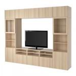 БЕСТО Шкаф для ТВ, комбин/стеклян дверцы - Лаппвикен/Синдвик под беленый дуб, прозрачное стелко, направляющие ящика,нажимные
