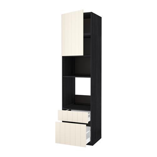 МЕТОД / МАКСИМЕРА Высок шкаф д/духовки/СВЧ/дверца/2ящ - 60x60x240 см, Хитарп белый с оттенком, под дерево черный