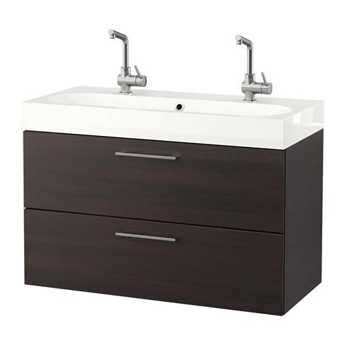 GODMORGON / BROVIKEN Sink case with 2 box - black-brown