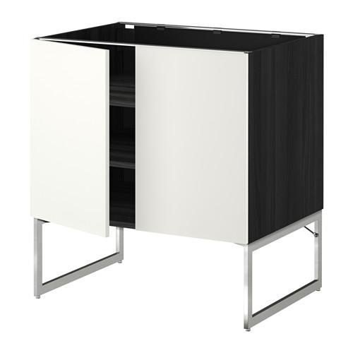 МЕТОД Напол шкаф с полками/2двери - 80x60x60 см, Хэггеби белый, под дерево черный