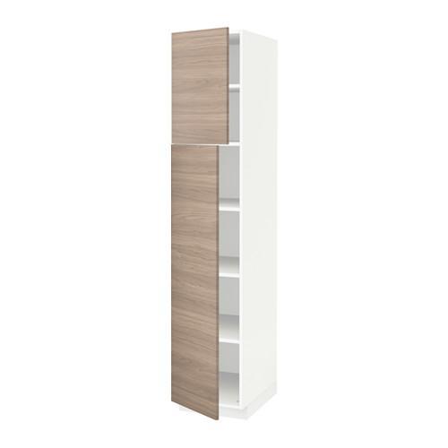Méthode Armoire Avec étagères Portes 2 Blanc Brokhult Noyer Effet Gris Clair 40x60x200 Cm