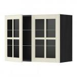 МЕТОД Навесной шкаф с полками/2 стекл дв - 80x60 см, Будбин белый с оттенком, под дерево черный