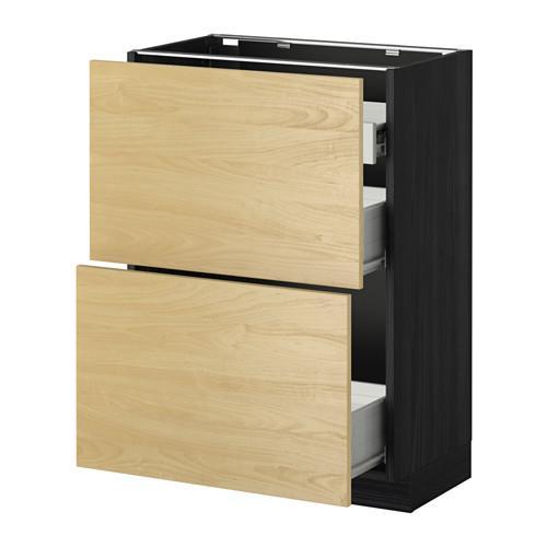 VERFAHREN / FORVARA Nap Schrank 2 FRNT PNL / 1nizk / 2sr Schubladen - Holz schwarz, Tingsrid Birke, 60x37 cm