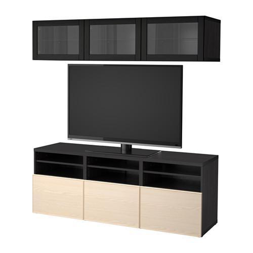 besto tv schrank kombiniert glast ren schwarz und braun sindwick inviken eschenfurnier. Black Bedroom Furniture Sets. Home Design Ideas