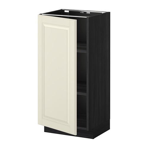МЕТОД Напольный шкаф с полками - 40x37 см, Будбин белый с оттенком, под дерево черный
