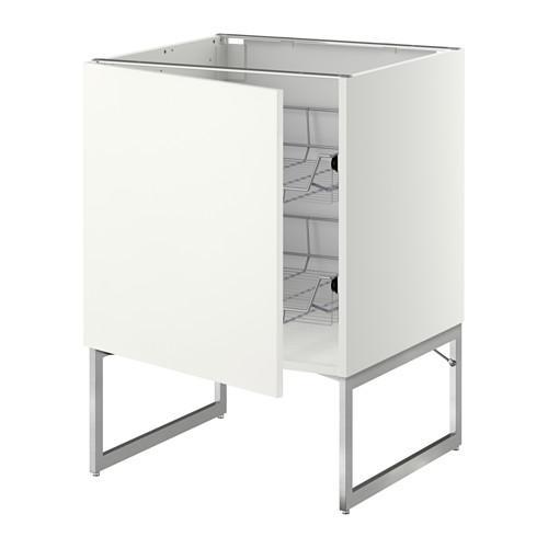 МЕТОД Напольный шкаф с проволочн ящиками - 60x60x60 см, Хэггеби белый, белый