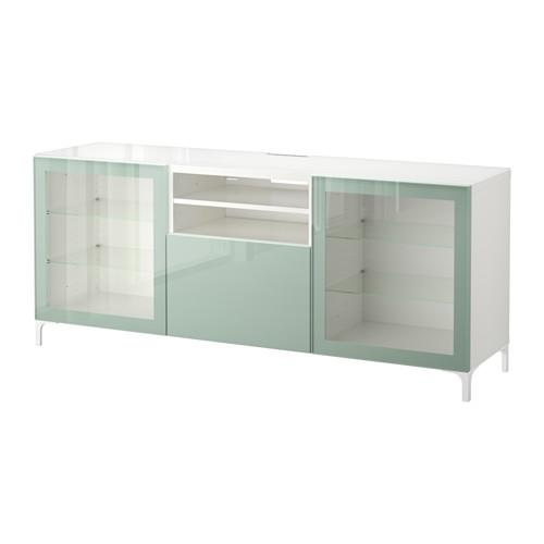 besto tv stand wei selswiken gl nzend grau gr nes licht transparentes glas. Black Bedroom Furniture Sets. Home Design Ideas
