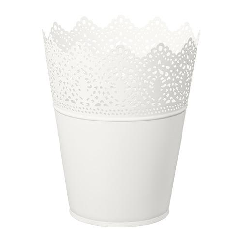 SKURAR potter for hjem / gate / hvit med et snev av 12 cm