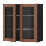 МЕТОД Навесной шкаф с полками/2 стекл дв - 80x80 см, Филипстад коричневый, под дерево черный