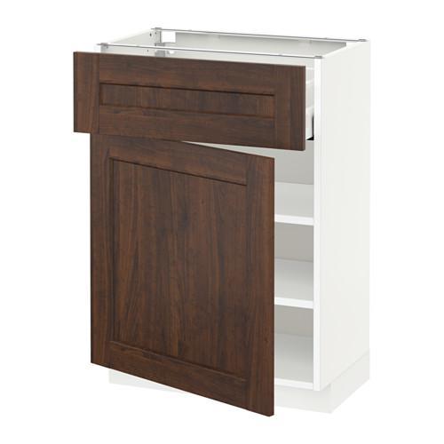 МЕТОД / МАКСИМЕРА Напольный шкаф с ящиком/дверью - 60x37 см, Эдсерум под дерево коричневый, белый