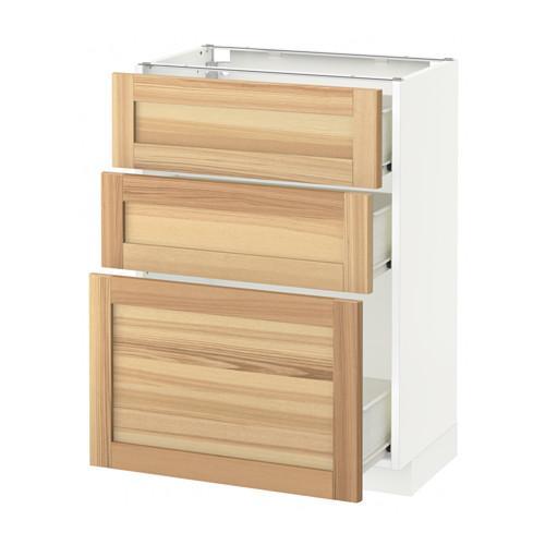 gabinete MÉTODO / Base FORVARA con cajones 3 - blanco, Torhemn fresno natural, 60x37 cm