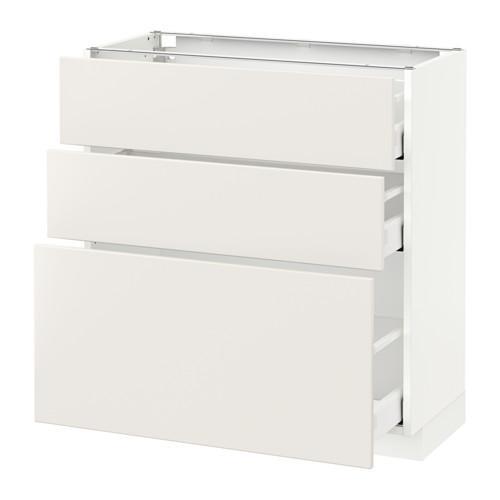 МЕТОД / МАКСИМЕРА Напольный шкаф с 3 ящиками - 80x37 см, Веддинге белый, белый