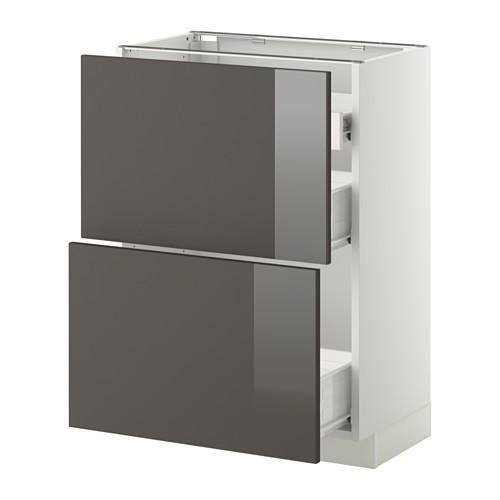 VERFAHREN / FORVARA Nap Schrank 2 FRNT PNL / 1nizk / 2sr Schubladen - weiß, glänzend grau Ringult, 60x37 cm