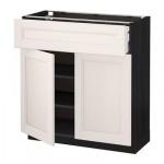 МЕТОД / МАКСИМЕРА Напольный шкаф+ящик/2дверцы - 80x37 см, Лаксарби белый, под дерево черный