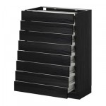 METHOD / FORVARA A filling cabinet front 8 / 8 low drawers - wood black, Tingsrid wood black, 60x37 cm