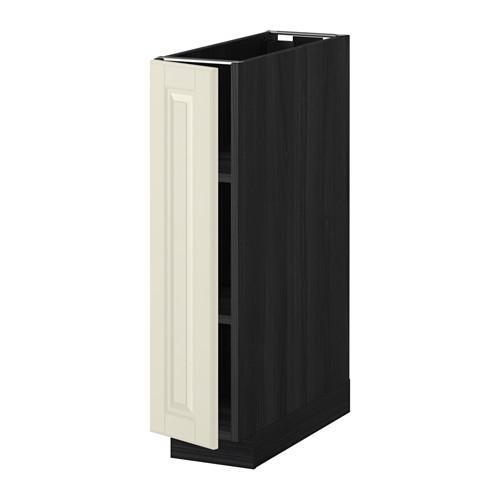 МЕТОД Напольный шкаф с полками - 20x60 см, Будбин белый с оттенком, под дерево черный