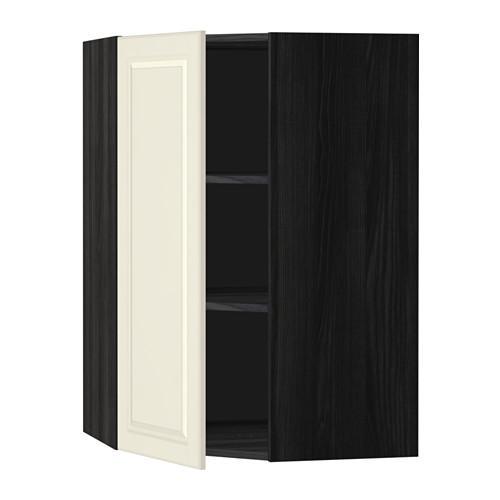 МЕТОД Угловой навесной шкаф с полками - 68x100 см, Будбин белый с оттенком, под дерево черный