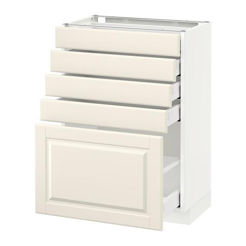 МЕТОД / МАКСИМЕРА Напольный шкаф с 5 ящиками - 60x37 см, Будбин белый с оттенком, белый