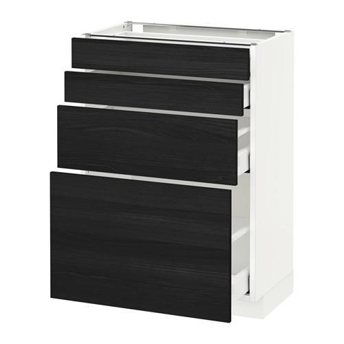 МЕТОД / МАКСИМЕРА Напольн шкаф 4 фронт панели/4 ящика - 60x37 см, Тингсрид под дерево черный, белый
