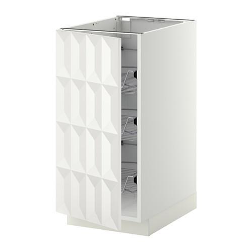МЕТОД Напольный шкаф с проволочн ящиками - 40x60 см, Гэррестад белый, белый
