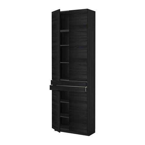 МЕТОД / МАКСИМЕРА Высокий шкаф+полки/2 ящика/4 дверцы - Тингсрид под дерево черный, под дерево черный